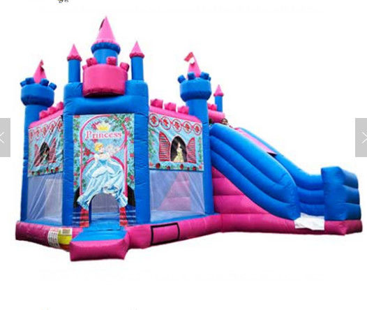 Princess Inflatable Bounce House Combo / Jumpy House With Slide OEM Service